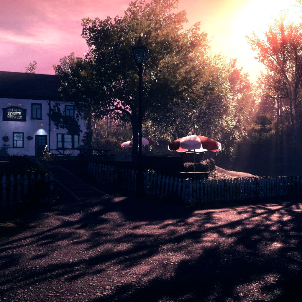 image: pub garden in the evening