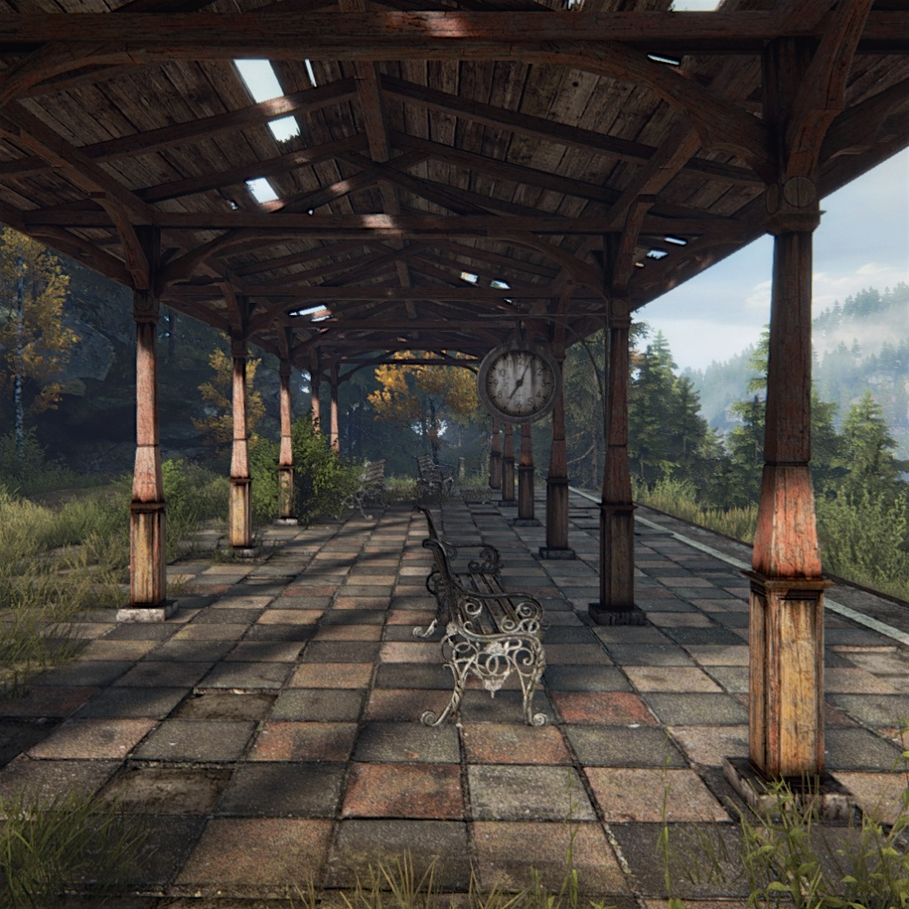 image: an old abandoned train station in a beautiful setting