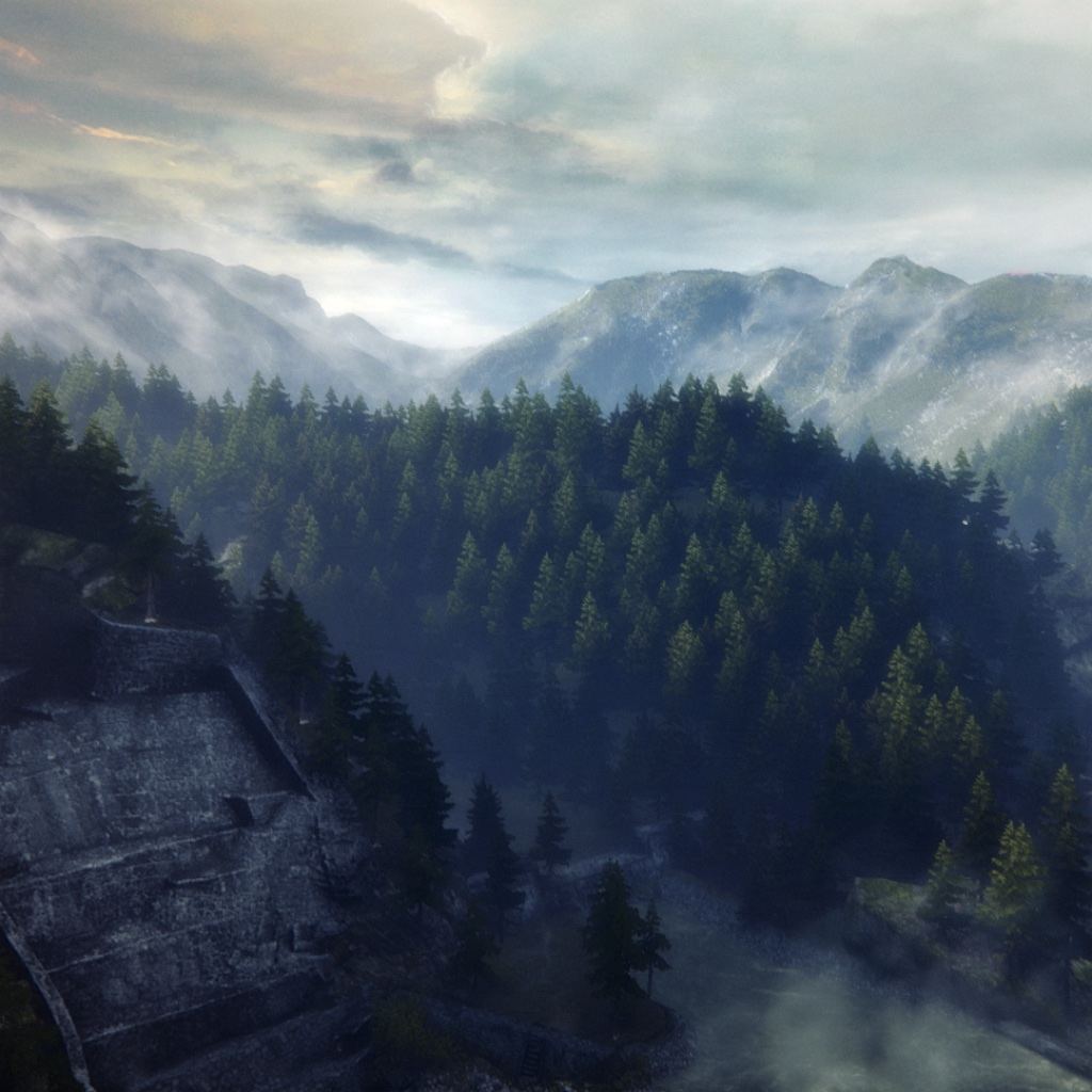 image: mountains, trees, clouds