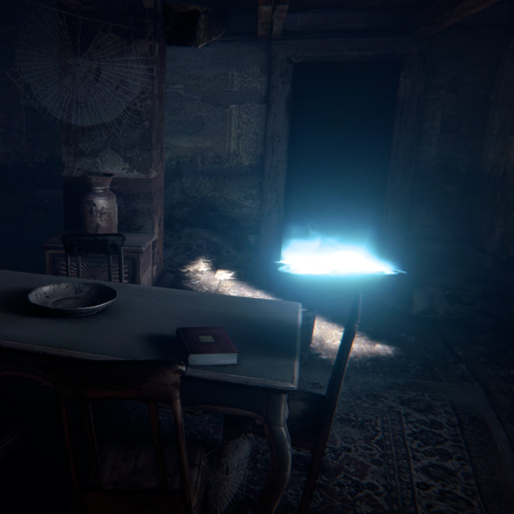 image: an abandoned kitchen with a blue glow revealing game magic